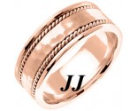 Rose Gold Hammered Wedding Band 8mm RG-752