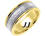 Two Tone Gold Hammered Wedding Band 8mm TT-752B