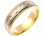 Two Tone Gold Link Wedding Band 6.5mm TT-754