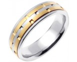 Two Tone Gold Link Wedding Band 6.5mm TT-755