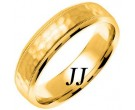 Yellow Gold Hammered Wedding Band 6mm YG-756