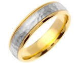 Two Tone Gold Hammered Wedding Band 6mm TT-757