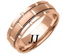 Rose Gold Brick Wedding Band 7mm RG-760