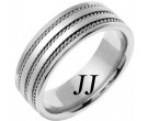 White Gold Twin Blade Wedding Band 7mm WG-761