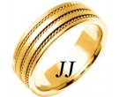 Yellow Gold Twin Blade Wedding Band 7mm YG-761