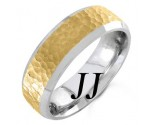 Two Tone Gold Hammered Wedding Band 6.5mm TT-751B