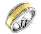 Two Tone Gold Hammered Wedding Band 7.5mm TT-752A