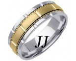 Two Tone Gold Brick Wedding Band 7mm TT-760B