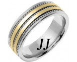 Two Tone Gold Twin Blade Wedding Band 7mm TT-761B
