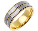 Two Tone Gold Hammered Wedding Band 7.5mm TT-766