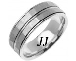 White Gold Hammered Wedding Band 7.5mm WG-766