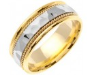 Two Tone Gold Hammered Wedding Band 7.5mm TT-767