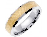 Two Tone Gold Hammered Wedding Band 6mm TT-768