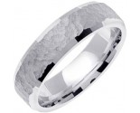 White Gold Hammered Wedding Band 6mm WG-768