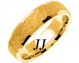 Yellow Gold Hammered Wedding Band 6mm YG-768