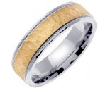 Two Tone Gold Hammered Wedding Band 6mm TT-769A