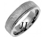 White Gold Hammered Wedding Band 6mm WG-769