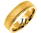 Yellow Gold Hammered Wedding Band 6mm YG-769