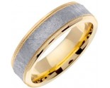 Two Tone Gold Hammered Wedding Band 6mm TT-769B