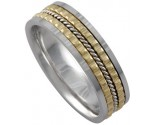 Two Tone Gold Designer Wedding Band 6.5mm TT-787