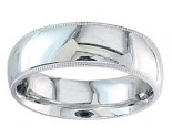 7mm Milgrain Plain White Gold Wedding Band PLNWMB-7mm