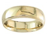 7mm Milgrain Plain Yellow Gold Wedding Band PLNYMB-7mm