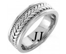 White Gold Hand Braided Wedding Band 7mm WG-851