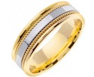 Two Tone Gold Single Blade Wedding Band 7mm TT-854A