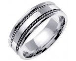 White Gold Single Blade Wedding Band 7mm WG-854