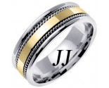 Two Tone Gold Single Blade Wedding Band 7mm TT-854B