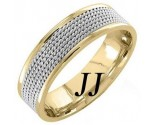 Two Tone Gold 5-Row Braid Wedding Band 6mm TT-855A