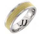 Two Tone Gold 5-Row Braid Wedding Band 6mm TT-855B