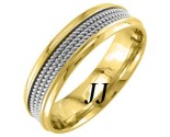 Two Tone Gold 3-Row Rope Wedding Band 6mm TT-856A