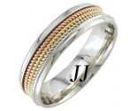 Tri Color Gold 3-Row Rope Wedding Band 6mm TC-856