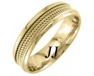 Yellow Gold 3-Row Rope Wedding Band 6mm YG-856