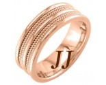 Rose Gold Quad Braided Wedding Band 7.5mm RG-859