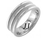 White Gold Quad Braided Wedding Band 7.5mm WG-859
