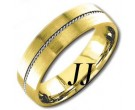 Two Tone Gold Single Braided Wedding Band 6mm TT-860A