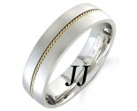 Two Tone Gold Single Braided Wedding Band 6mm TT-860B