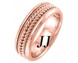 Rose Gold Hand Braided Wedding Band 7.5mm RG-862