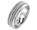 White Gold Hand Braided Wedding Band 7.5mm WG-862