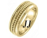 Yellow Gold Hand Braided Wedding Band 7.5mm YG-862