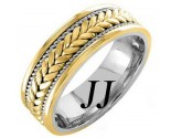 Two Tone Gold Hand Braided Wedding Band 7mm TT-863