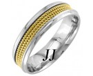 Two Tone Gold 3-Row Rope Wedding Band 6mm TT-856B