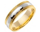 Two Tone Gold Single Blade Wedding Band 7mm TT-867