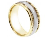 Two Tone Gold Designer Wedding Band 8mm TT-873