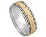 Two Tone Gold Designer Wedding Band 8mm TT-874A