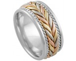 Tri Color Gold Hand Braided Wedding Band 8mm TC-878