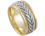 Two Tone Gold Hand Braided Wedding Band 8mm TT-878
