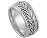 White Gold Hand Braided Wedding Band 8mm WG-878